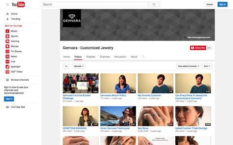Screenshot of youtube.com - Gemvara - Customized Jewelry  - YouTube - captured July 22, 2016