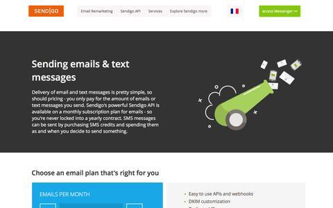 Screenshot of Pricing Page sendigo.com - � Sendigo � API Pricing - captured Jan. 10, 2016