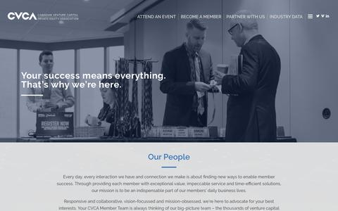 Screenshot of Team Page cvca.ca - Our People – Canadian Venture Capital & Private Equity Association - captured Sept. 20, 2018