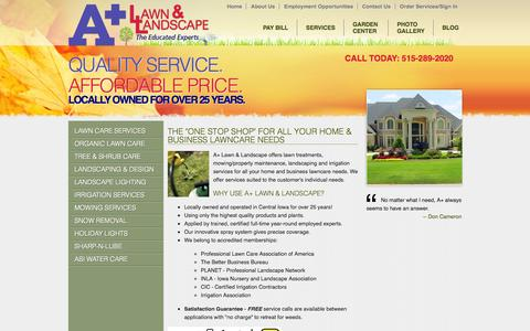 """Screenshot of Services Page apluslawn.com - A Plus Lawn & Landscape - The """"One Stop Shop"""" for All Your Home & Business Lawncare Needs - Lawn Care Central Iowa, Landscaping Central Iowa, Irrigation Installation Central Iowa, Irrigation System Repair Des Moines, Tree & Scrub Care, Landscape Ligh - captured Oct. 3, 2014"""