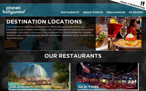 Screenshot of Locations Page planethollywoodintl.com - Locations   Planet Hollywood Restaurants - captured July 14, 2016