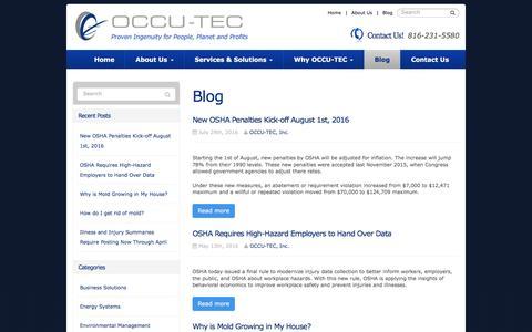 Screenshot of Blog occutec.com - Blog | OCCU-TEC - captured Nov. 28, 2016