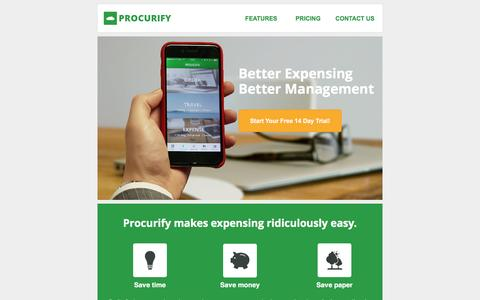 Screenshot of Landing Page procurify.com - Better Business Expensing With Procurify - captured March 22, 2017