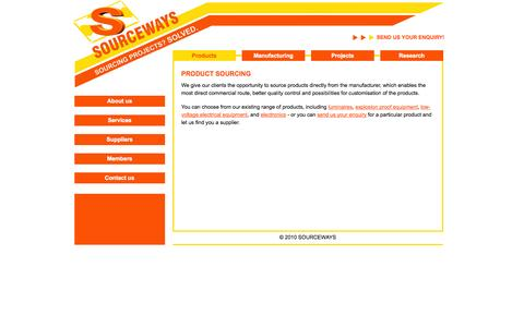 Screenshot of Products Page sourceways.co.uk - SOURCEWAYS Products | Products - captured Sept. 30, 2014