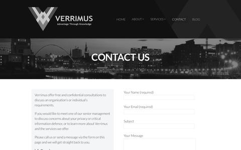 Screenshot of Contact Page verrimus.com - CONTACT | Verrimus - captured Oct. 20, 2018
