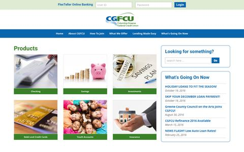 Screenshot of Products Page cgfcu.org - Products - CGFCU - captured Nov. 9, 2016