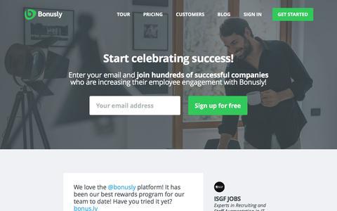 Screenshot of Signup Page bonus.ly - Sign Up - Bonusly - captured Dec. 4, 2015