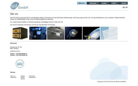 Screenshot of Home Page gtd-gmbh.de - GTD GmbH - Experten für On-Board Software - captured July 3, 2015