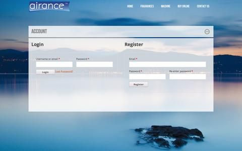 Screenshot of Login Page airance.com - Account - captured Sept. 30, 2014
