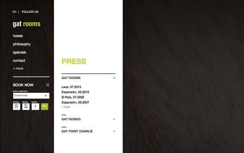 Screenshot of Press Page gatrooms.com - Gat Rooms | Press - captured Oct. 28, 2016