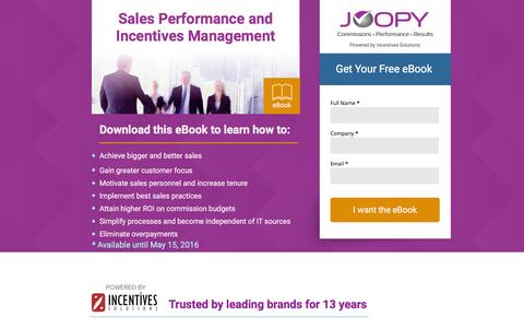 Screenshot of Landing Page joopy.com - Sales Performance and Incentives Management eBook - captured April 25, 2016