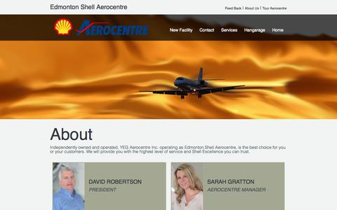 Screenshot of About Page shellaero.com - The Fineset FBO at YEG - Hangars - Fuel - Quality - captured Oct. 2, 2014