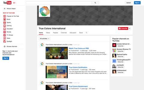 Screenshot of YouTube Page youtube.com - True Colors International  - YouTube - captured Nov. 5, 2014