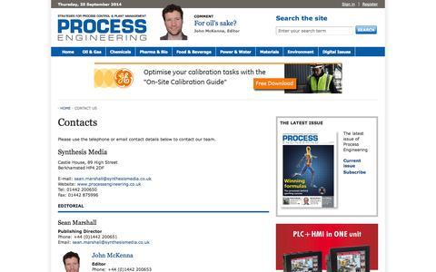 Screenshot of Contact Page theengineer.co.uk - Process Engineering - captured Sept. 23, 2014