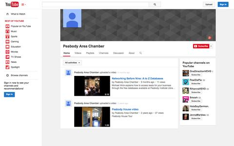 Screenshot of YouTube Page youtube.com - Peabody Area Chamber  - YouTube - captured Oct. 22, 2014