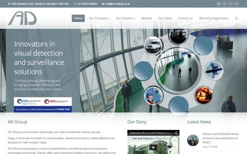 Screenshot of Home Page ad-group.co.uk - AD Group | Innovators in visual detection and surveillance solutions - captured June 17, 2015