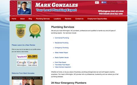 Screenshot of Services Page capefearplumber.com - Plumbing Repair Services Wilmington NC & Oak Island NC   24 Hour Plumber - captured Feb. 14, 2016