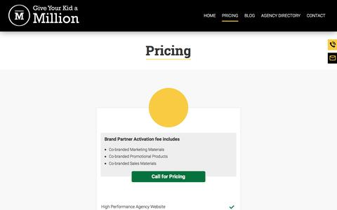 Screenshot of Pricing Page gykam.com - Insurance Agency Marketing Services & Prices | Give Your Kid a Million - captured July 4, 2018