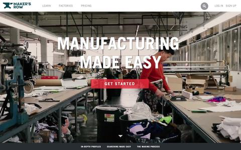Screenshot of Home Page makersrow.com - Maker's Row - Factory Sourcing Made Easy - captured Feb. 17, 2016