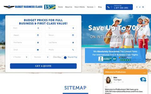 Screenshot of Site Map Page budgetbusinessclass.com - Sitemap - Budget Business ClassBudget Business Class - captured Dec. 9, 2018