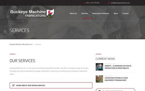 Screenshot of Services Page buckeyemachine.com - Services – Buckeye Machine Fabricators, Inc. - captured Oct. 11, 2017