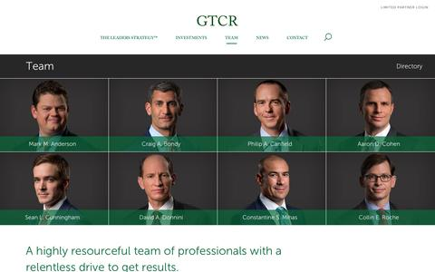 Screenshot of Team Page gtcr.com - Results with Leaders - Resourceful Relentless in Accomplishing Goals and Results - GTCR - captured Jan. 24, 2016