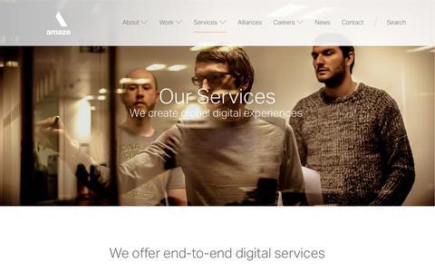 Screenshot of Services Page amaze.com - Our Services | Amaze - captured July 25, 2016