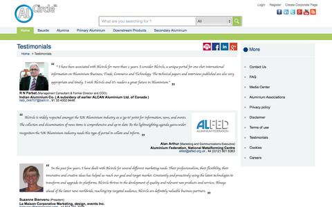 Screenshot of Testimonials Page alcircle.com - Testimonials - captured Sept. 19, 2014