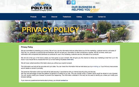 Screenshot of Privacy Page poly-tex.com - Privacy - captured Sept. 23, 2014