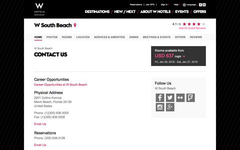 Screenshot of Contact Page starwoodhotels.com - Contact Us | W South Beach - captured Jan. 25, 2018