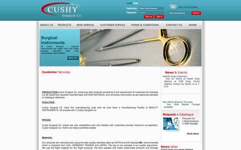 Screenshot of Support Page cushysurgical.com - ::. Cushy Surgical Co.  .:: |Services - captured Oct. 3, 2014