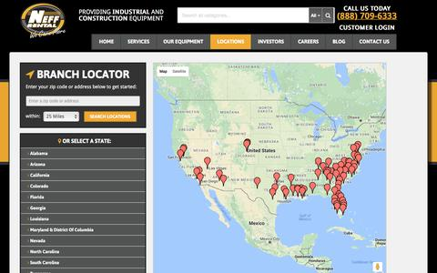 Screenshot of Locations Page neffrental.com - Construction Equipment Rental Locations | Neff Rental - captured June 12, 2017