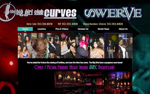 Screenshot of Home Page clubcurves.com - Club Curves Club Swerve Moxie Original Big Girl Club Los Angeles BBW - captured Oct. 2, 2014
