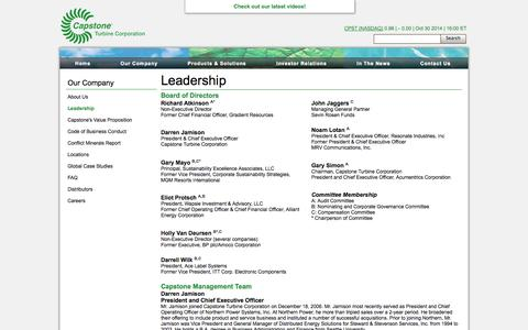 Screenshot of Team Page capstoneturbine.com - Capstone Turbine Corporation | Our Company - Leadership - captured Oct. 31, 2014