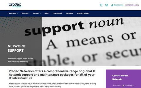 Screenshot of Support Page prodec.co.uk - Network Support - Prodec Networks - captured Aug. 29, 2016