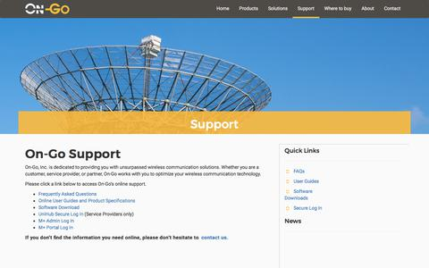 Screenshot of Support Page on-go.com - On-Go Support - captured Oct. 20, 2017