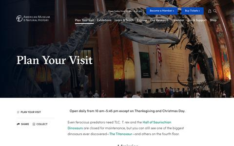 Screenshot of Maps & Directions Page amnh.org - Plan Your Visit | American Museum of Natural History - captured Nov. 7, 2018