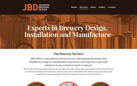 Screenshot of Services Page johnsonbrewing.co.uk - Brewery Services - Johnson Brewing Design - captured Nov. 27, 2016
