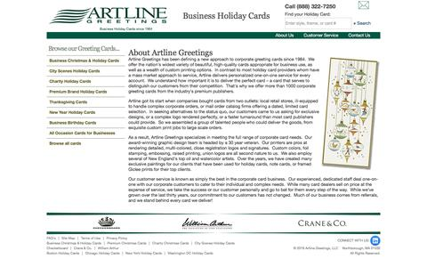 Screenshot of About Page artlinegreetings.com - Corporate Holiday Cards & Greeting Cards - Artline Greetings - captured July 30, 2018
