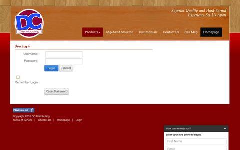Screenshot of Login Page dc-dist.com - User Log In - captured Nov. 23, 2016