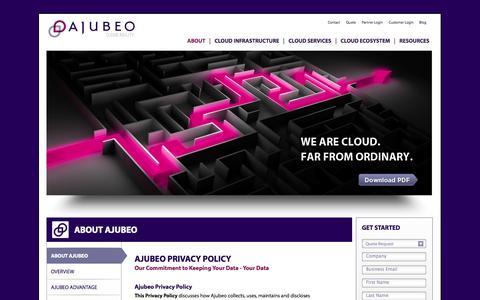 Screenshot of Privacy Page ajubeo.com - Ajubeo Privacy Policy - captured Sept. 13, 2014