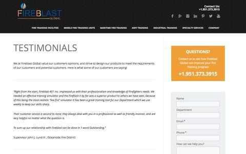 Screenshot of Testimonials Page fireblast.com - Testimonials - Fireblast Global - captured Oct. 23, 2014