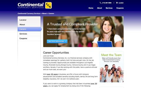 Screenshot of Jobs Page ccurr.com - Careers | Continental Currency Services - captured Oct. 3, 2014