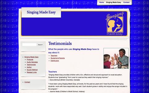 Screenshot of Testimonials Page singingmadeasy.com - Testimonials - Singing Made Easy - captured Oct. 21, 2017
