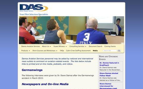 Screenshot of Press Page damosaviation.com - Damos interviews - captured Feb. 9, 2016