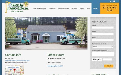 Screenshot of Contact Page papaliaplumbing.com - Contact | Plumber & HVAC Service | Plumbing & Drain Cleaning - captured Oct. 1, 2014