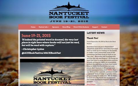 Screenshot of Home Page nantucketbookfestival.org - Nantucket Book Festival | June 19-21, 2015 - captured Sept. 24, 2015