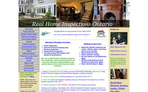Screenshot of Pricing Page realhomeinspectionsontario.com - Pricing, Our Rates, Real Home Inspections Ontario, Cost. Home Inspector, Kitchener, Waterloo, Guelph, Cambridge, Stratford, New Hamburg, Brantford, Milton, Elmira, Acton, Rockwood, Listowel, Mississauga. Air Quality testing Mold Asbestos, Infrared Th - captured Oct. 26, 2014