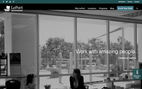Screenshot of Jobs Page leportschools.com - LePort Montessori: Careers for Passionate Professionals - captured July 17, 2018