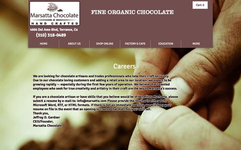 Screenshot of Jobs Page marsatta.com - Marsatta Chocolate Los Angeles | Vegan Organic Chocolate | Bean To Bar | JOIN OUR TEAM - captured Nov. 18, 2016
